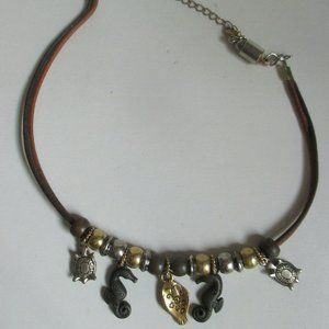 Jewelry - Vintage Leather necklace with seaside charms beads